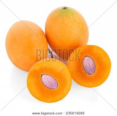Marian Plum Or Plango Thai Fruit Isolated On White Background (mayongchid Maprang Marian Plum And Pl