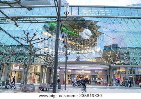 FRANKFURT AM MAIN, GERMANY - April 1, 2018: MyZeil - a shopping mall in the center of Frankfurt am Main city, Germany. It was designed by Roman architect Massimiliano Fuksas.