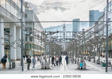 FRANKFURT AM MAIN, GERMANY - April 1, 2018: Pedestrian zone in the center of Frankfurt. Most famous and busiest shopping streets in Germany.