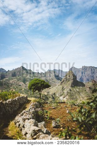 Hiking Trail Leading Through Arid Rocky Terrain Towards Coculli Village On Santo Antao Cape Verde.