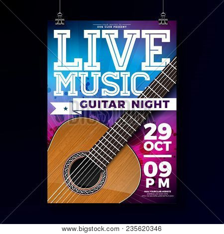 Live Music Flyer Design With Acoustic Guitar On Grunge Background. Vector Illustration Template For