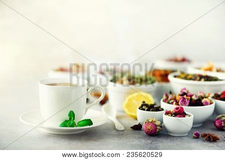 Tea Concept With Copy Space. Different Kinds Of Dry Tea In White Ceramic Bowls And Cup Of Aromatic T