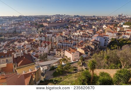 Lisbon Cityscape Backlight Panorama Portugal Picture Blue Sky