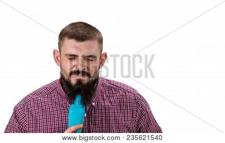 Angry Man With Beard In  Shirt Looks Exhausted. Builder, Plasterer, Repairman, Foreman On White Back