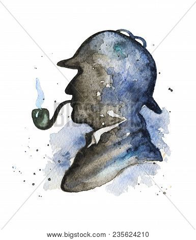 Vintage Silhouette Of Sherlock Holmes With Smoking Pipe And Hat On Watercolor Splotches. Watercolor