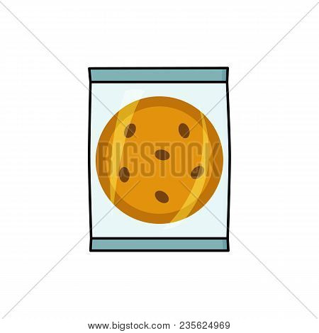 Cookie, Biscuit With Chocolate Chips In Individual Plastic Package, Flat Style Vector Illustration I