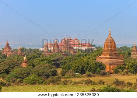 Landscape View With Ancient Buddhist Temples And Bagan Archaeological Museum In Old Bagan Archaeolog