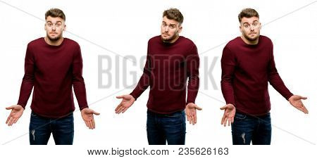 Handsome blond man doubt expression, confuse and wonder concept, uncertain future isolated over white background