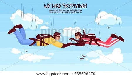 Skydiving Adventures Horizontal Banner With Couple In Free Fall Holding Hands Romantic Experience Ab