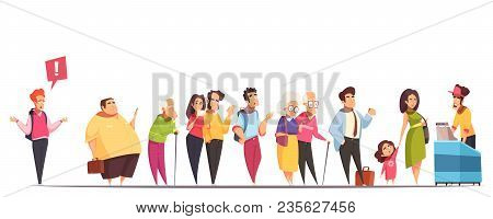 People Waiting In Long Queue At Counter With Fat Man Hipster Old Young Couples Kid  Vector Illustrat