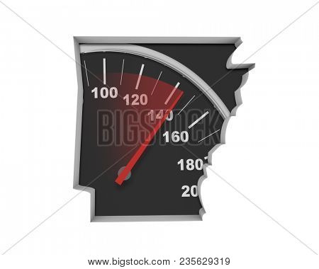 Arkansas AR Speedometer Map Fast Speed Competition Race 3d Illustration