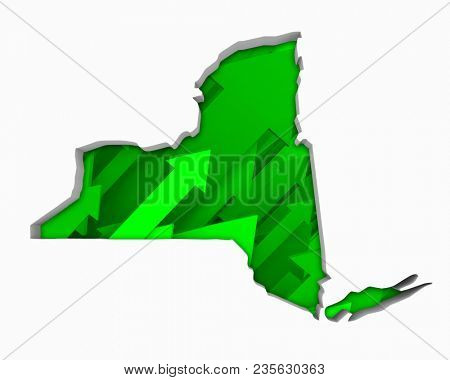New York NY Arrows Map Growth Increase On Rise 3d Illustration