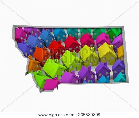 Montana MT Homes Homes Map New Real Estate Development 3d Illustration