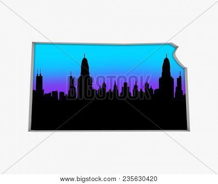 Kansas KS Skyline City Metropolitan Area Nightlife 3d Illustration