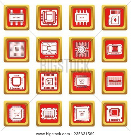 Computer Chips Icons Set Vector Red Square Isolated On White Background