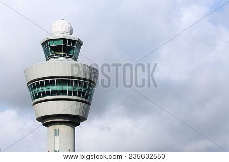 Amsterdam, Netherlands - July 11, 2017: Air Traffic Control Tower In Schiphol Airport, Amsterdam. Sc