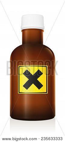 Harmful Medicine. Bottle With Warning Hazard Symbol Because Of Irritant Ingredients - Isolated Vecto