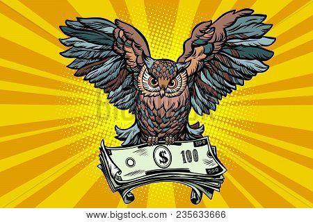 Owl Holding In Its Talons The Money. Comic Book Cartoon Pop Art Retro Vector Illustration