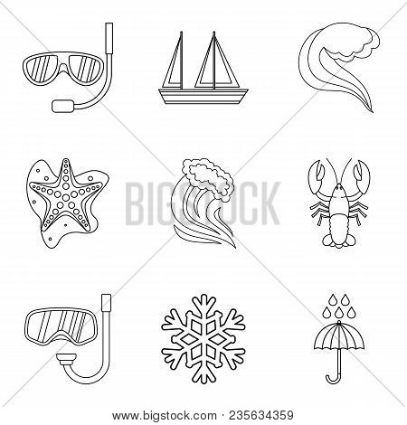 Water joke icons set. Outline set of 9 water joke vector icons for web isolated on white background poster