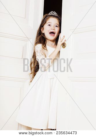 Little Cute Girl At Home, Opening Door Well-dressed In White Dress, Adorable Milk Fairy Teeth, Curio