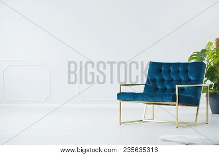 Blue Chair With Golden Frame