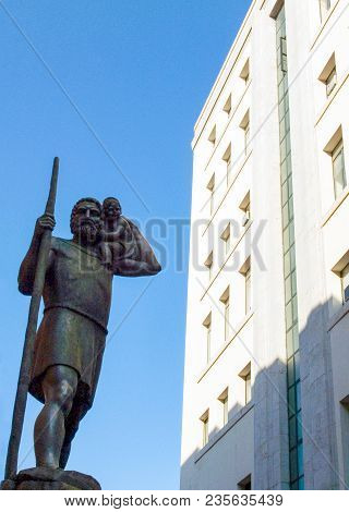 Sicily, Palermo, The St Cristoforo Statue In Front Of The Post Office Building