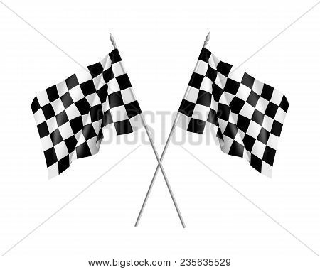 Two Racing Flags Crossed Realistic. Pair Of Standards For Marking Start And Finish. Vector Illustrat
