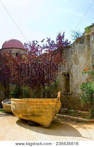 Sicily, Palermo, A Fishermen Boat In The Court Of Santa Maria Dello Spasimo Church