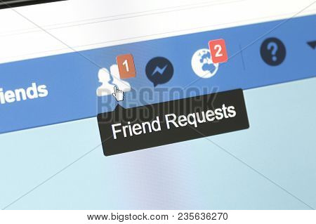 Houilles, France - April 10, 2018:facebook Web Page Closeup With Notifications Icons Of New Friend S
