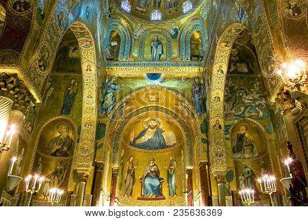 Palermo, Italy - September 26, 2005:  Sicily Island, The Byzantine Mosaics Of The Palatina Chapel