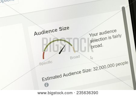 Houilles, France - April 10, 2018:gauge Graphs Represent The Potential Audience Estimated During The