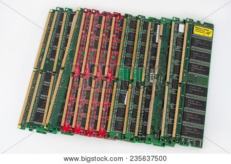 Russia, Izhevsk - February 27, 2017: Group Of Fourteen Computer Ddr Memory Modules. Isolated On A Wh