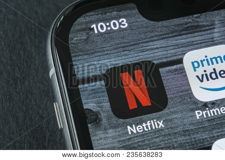 Sankt-petersburg, Russia, April 11, 2018: Netflix Application Icon On Apple Iphone X Screen Close-up