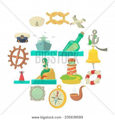 Nautical Sea Icons Set. Cartoon Illustration Of 16 Nautical Sea Vector Icons For Web