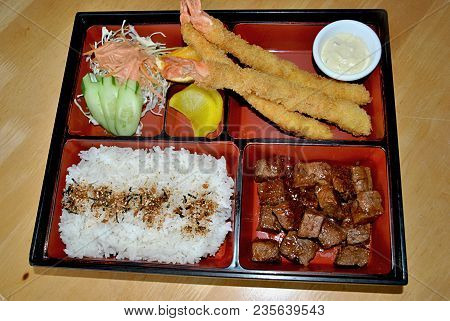 Bento Or Japanese Lunch Box , Complete Meal Bento Is A Complete Japanese Lunch Box With An Assortmen