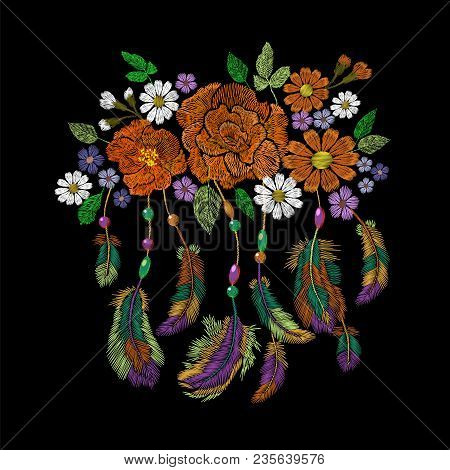 Embroidery Boho Native American Indian Feathers Flowers Arrangement Clothes Ethnic Tribal Fashion Design Decoration Patch Fashionable Template Vector