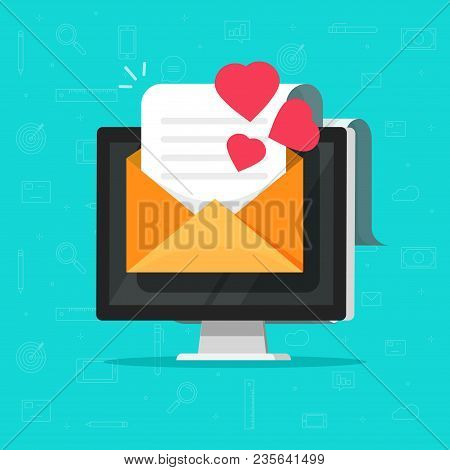 Love Email Message On Computer Vector Illustration, Flat Cartoon E-mail Letter With Hearts On Pc Dis