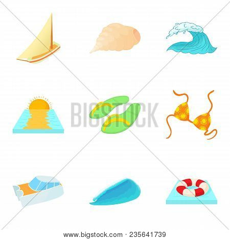 Water Mass Icons Set. Cartoon Set Of 9 Water Mass Vector Icons For Web Isolated On White Background