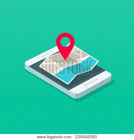Smartphone And Map Pointer Isometric Vector Illustration, Flat Cartoon Mobile Phone Map Navigator In