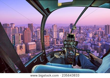 Helicopter Cockpit Inside The Cabin Flying On Buildings In The Middle Of Osaka With Spectacular Mage