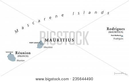 Mascarene Islands, Political Map. Mauritius, Reunion And Rodrigues. Mascarenhas Archipelago, A Group