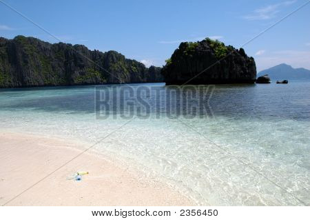 Beach Scene At El Nido Philippines