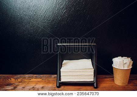 Set For A Table In The Restaurant. Spices, Napkins, Toothpicks. Service In Restaurant