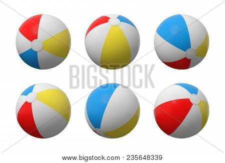 3d Rendering Of Many Identical Inflated Beach Balls With White, Red, Yellow And Blue Stripes. Set Of