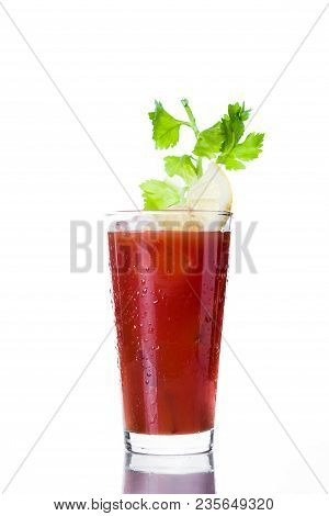 Bloody Mary Cocktail In Glass On White Background.
