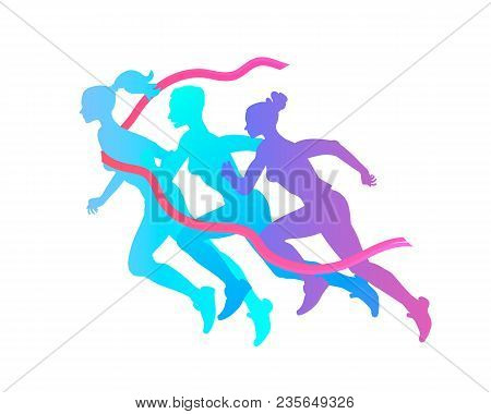 Three Women Silhouette Run To Victory, Overcoming Difficulties, Achieving Success And Results In Spo