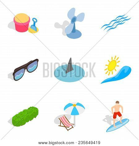 Peaceful Rest Icons Set. Isometric Set Of 9 Peaceful Rest Vector Icons For Web Isolated On White Bac
