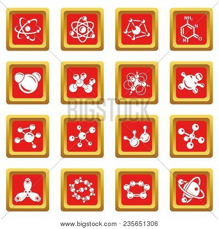 Molecule Icons Set Vector Red Square Isolated On White Background