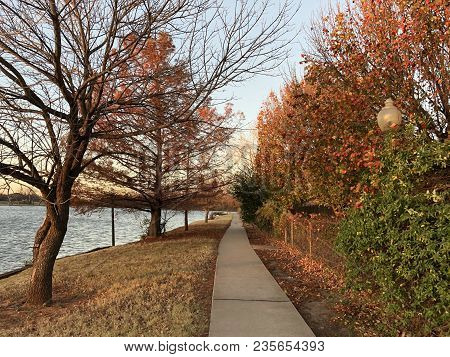 Beautiful Colors Of Fall In The Leaves Of The Trees Near A Walkway And A Pond