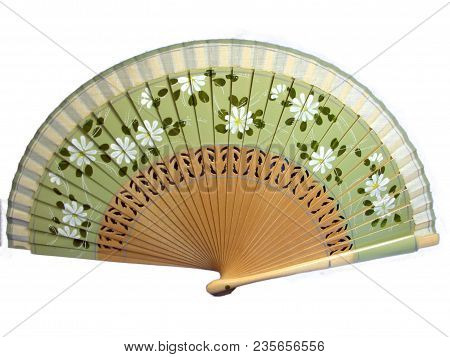 Isolated Vintage Celluloid Green Decorative Hand Fan